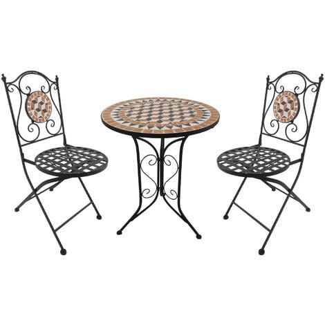 Outsunny 3 Piece Round Mosaic Bistro Set Patio Garden Furniture Outdoor Dining Furniture