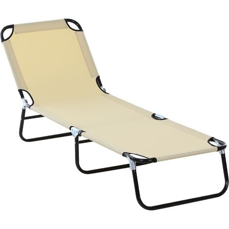 Outsunny 3-Position Adjustable Sun Lounger Portable Folding Recliner Pool Beige