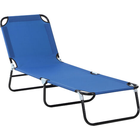 Outsunny 3-Position Adjustable Sun Lounger Portable Folding Recliner Pool Blue