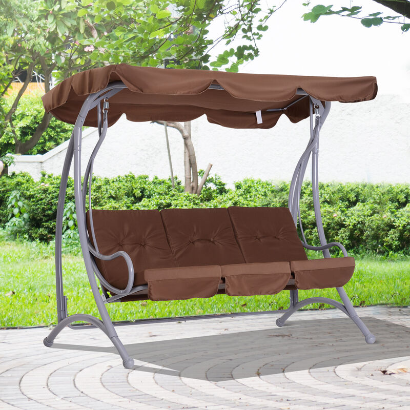 Outsunny 3 Seater Garden Metal Swing Chair Hammock Outdoor Bench Seat Coffee