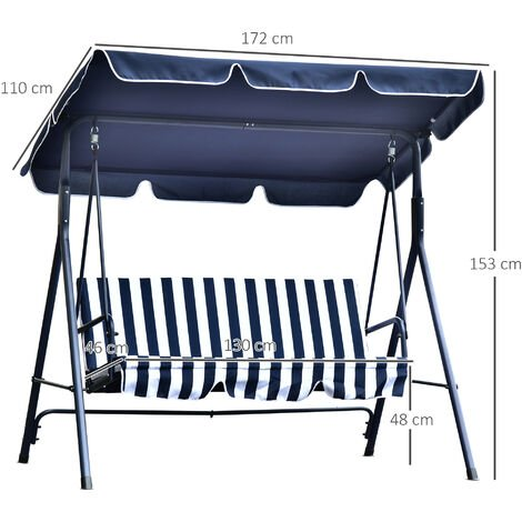 Outsunny 3-Seater Garden Swing Chair Steel Frame Canopy Padded Striped Blue
