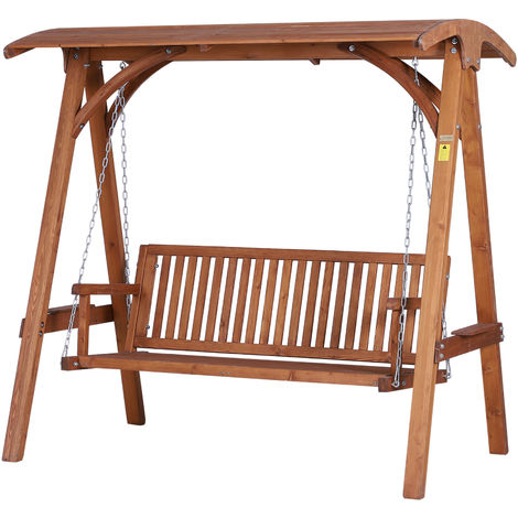 Outsunny 3 Seater Larch Wooden Garden Swing Chair Seat Hammock Bench Lounger