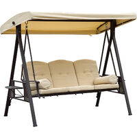 Outsunny 3 Seater Patio Metal Swing Chair