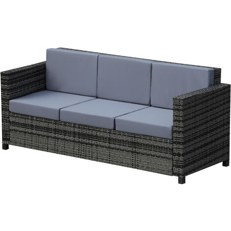 Outsunny 3-Seater Rattan Sofa Plastic Wicker w/ Padded Cushion Outdoor Patio Grey