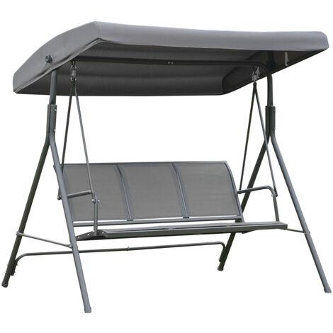 Outsunny 3 Seater Swing Chair Garden Hammock In Olive Grey 178cm x 111cm x 155cm
