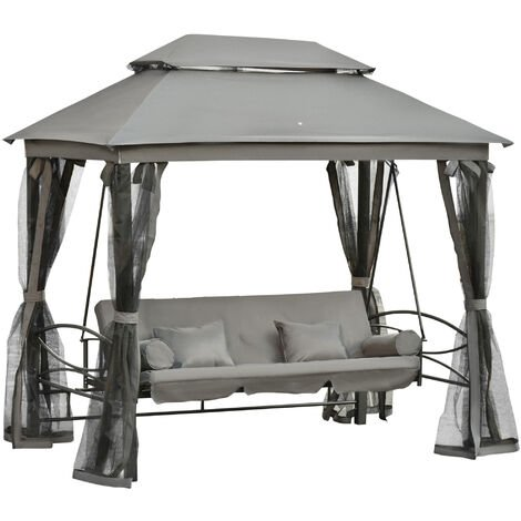 """main image of """"Outsunny 3 Seater Swing Chair Hammock Gazebo Patio Bench Outdoor Cushions Grey"""""""