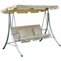 Outsunny 3 Seater Swinging Garden Hammock Swing Seat Chair Bench Luxury +2 Free Cushions - Cream