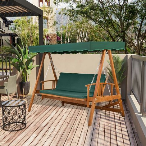 Outsunny 3 Seater Wooden Garden Outdoor Swing Chair Bench Furniture Lounger Bed