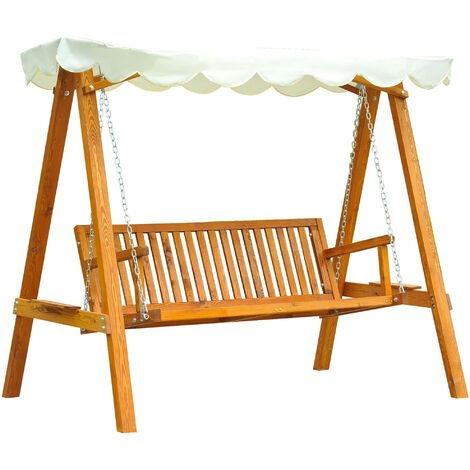 """main image of """"Outsunny 3 Seater Wooden Wood Garden Swing Chair Seat Hammock Bench Furniture Lounger Bed FSC Certificated Wood"""""""