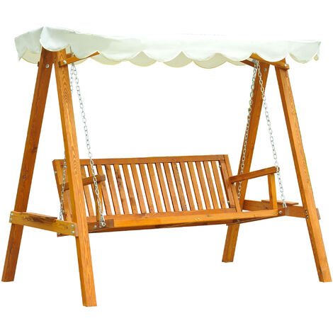 Outsunny 3 Seater Wooden Wood Garden Swing Chair Seat Hammock Bench Furniture Lounger Bed FSC Certificated Wood