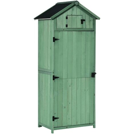 Outsunny 3 Shelf Garden Shed Vertical Utility Shed Wood Outdoor Garden Tool Storage