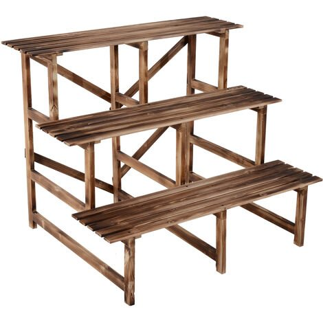 Outsunny 3 Tier Flower Stand Wood Folding Planter Ladder Display - 100L x 80W x 80H (cm)