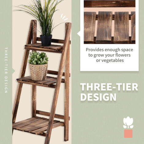 Outsunny 3 Tier Flower Stand Wood Folding Planter Ladder Display - 40L x 37W x 93H (cm)
