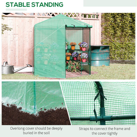 Outsunny 3-Tier Hexagonal Walk In Portable Greenhouse Outdoor - 194D x 225H cm