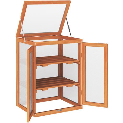 """main image of """"Outsunny 3-tier Wood Greenhouse Plant Storage Shelf Garden Cold Frame Grow House"""""""