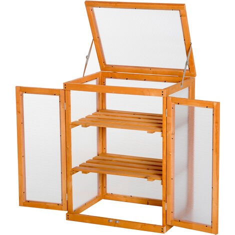 """main image of """"Outsunny 3-tier Wooden Cold Frame Greenhouse Flower Storage Shelves (58L x 44W x 78H (cm))"""""""