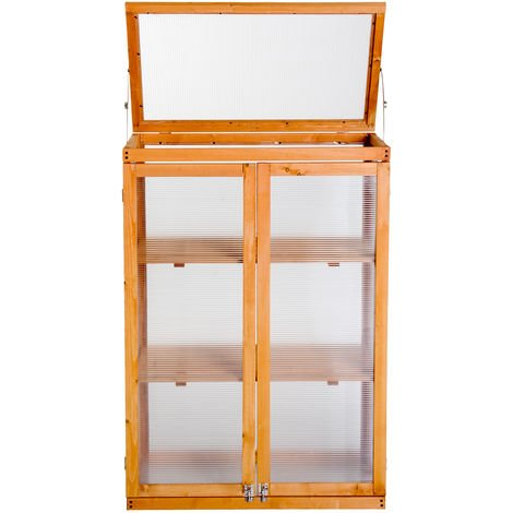 """main image of """"Outsunny 3-tier Wooden Cold Frame Greenhouse Flower Storage Shelves (76L x 47W x 110H (cm))"""""""