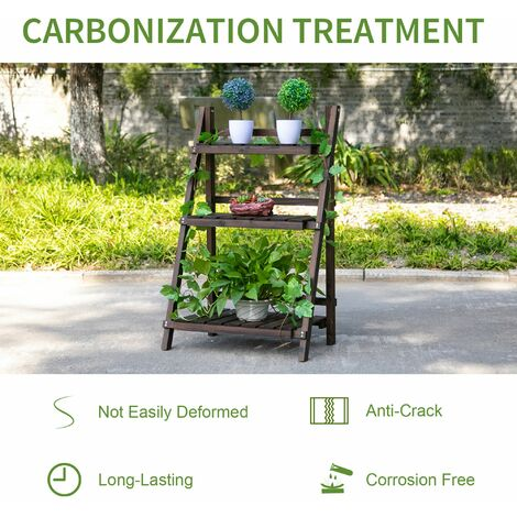 Outsunny 3-Tier Wooden Plant Shelf Plant Pots Holder Stand Indoor Outdoor