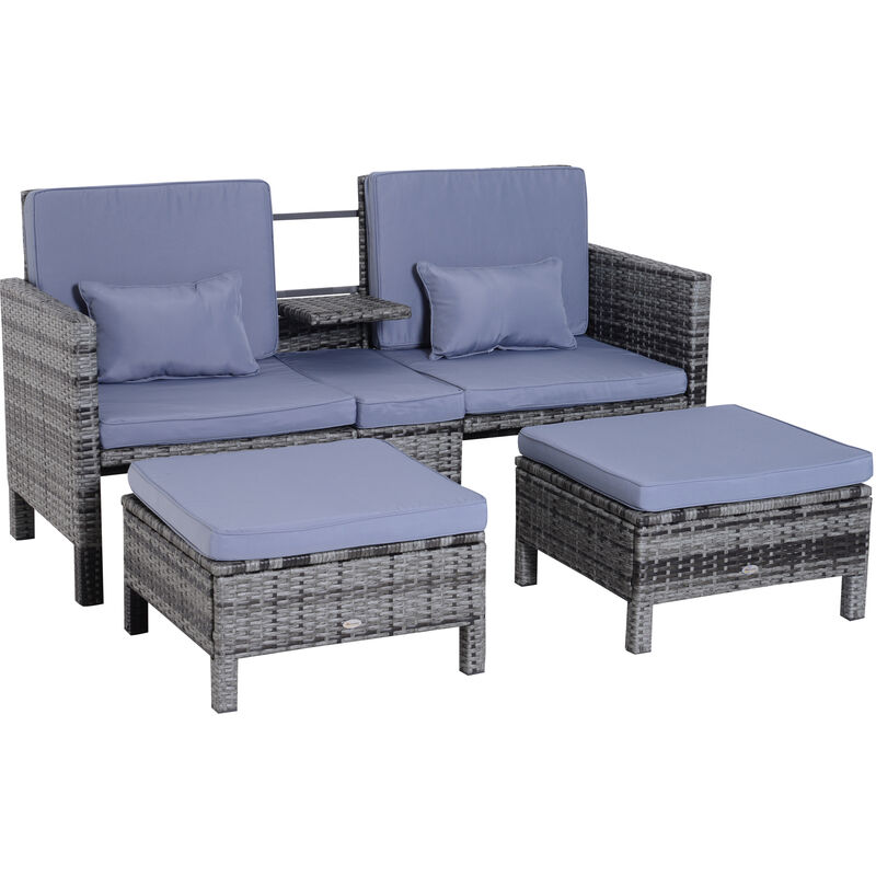 ® 3-tlg. Gartensofa Gartenmöbel Lounge Rattanmöbel Grau Polyrattan + Metall 2er-Sofa 2 x Hocker Kissen - grau/blau - Outsunny