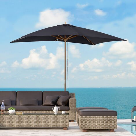 Outsunny 3 x 2m Wooden Garden Parasol Sunshade Patio Umbrella