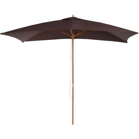 Outsunny 3 x 2m Wooden Garden Parasol Sunshade Patio Umbrella Canopy - Coffee