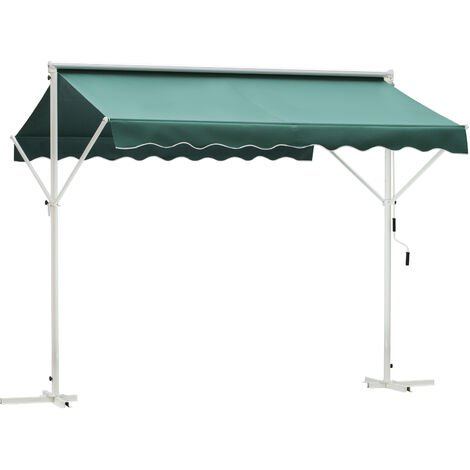 Outsunny 3 x 3m 2 Side Free Standing Manual Awning Canopy Patio Garden Outdoor Sun Shade Shelter w/ Winding Handle