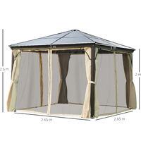 Outsunny 3 x 3m Garden Gazebo Outdoor PC Board Roof Canopy w/ Mosquito Net