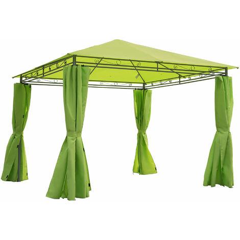 Outsunny 3 x 3m Garden Metal Gazebo Marquee Canopy w/ Sidewalls Pavilion - Green