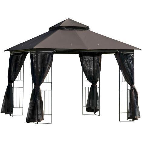 Outsunny 3 x 3(m) Gazebo Canopy Outdoor Garden w/ Mesh Curtains Shelves Coffee