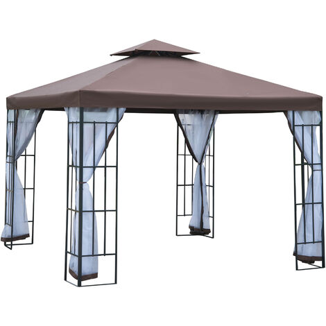 Outsunny 3 x 3m Gazebo Metal Canopy Pavillion w/ mesh sidewall + water strip - Coffee