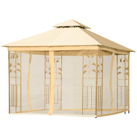 Outsunny 3 x 3m Gazebo Metal Marquee Party Tent Canopy Pavillion w/ mesh sidewall