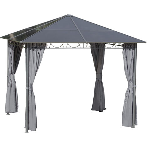 Outsunny 3 x 3(m) Hardtop Gazebo for Garden Party w/ Polycarbonate Roof Curtains