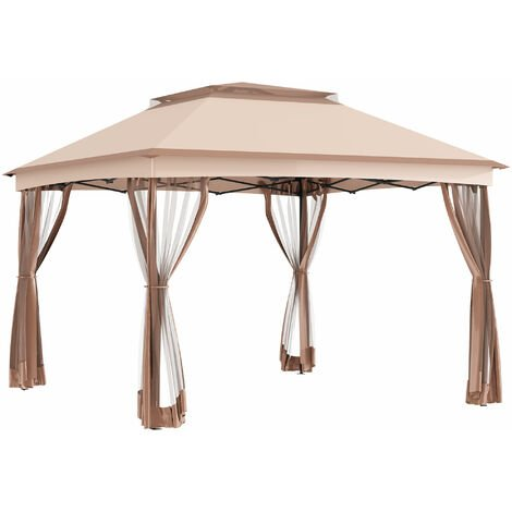 Outsunny 3 x 3m Metal Gazebo Canopy Garden Pop Up Tent w/Net Curtain Zipper Door - Khaki