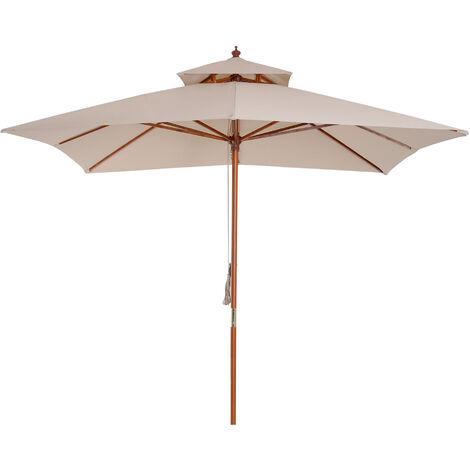 Outsunny 3 x 3m Patio Garden Sun Umbrella Sunshade Outdoor Wood Wooden Parasol Canopy Double Tier