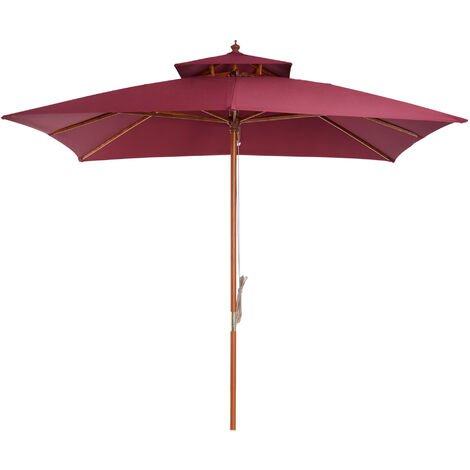 Outsunny 3 x 3m Patio Garden Sun Umbrella Sunshade Outdoor Wood Wooden Parasol Canopy Double Tier Wine Red