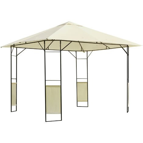 Outsunny 3 x 3m Patio Gazebo Marquee Steel Frame w/ Canopy Awning - Cream
