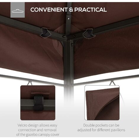 Outsunny 3 x 4m Gazebo Canopy Roof Top Replacement Pavilion 2 Tier - Brown