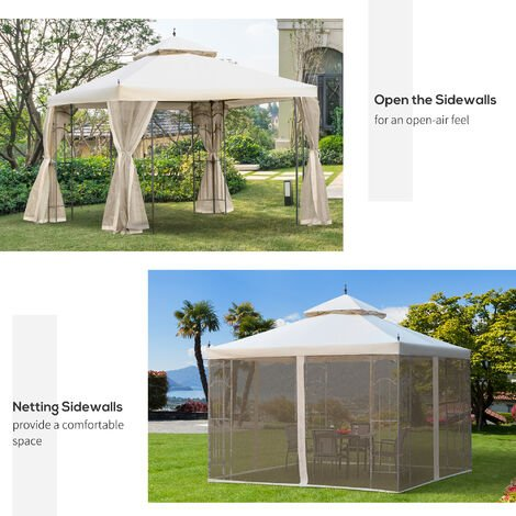Outsunny 300cmX300cm Garden Gazebo Double Top Gazebo w/ Mesh Curtain Beige