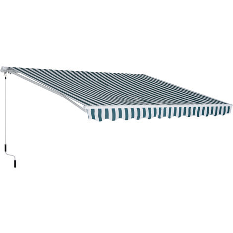 Outsunny 300x250cm Window Awning Canopy Sun Shelter w/ Hand Crank White Green
