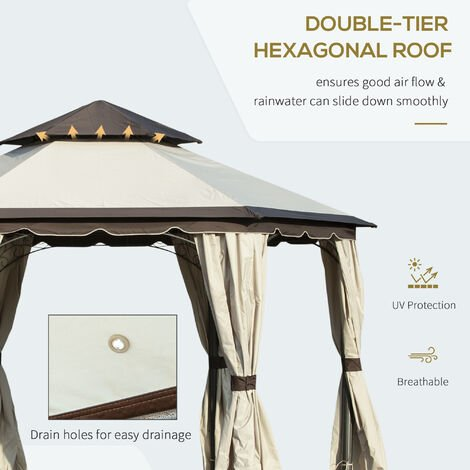Outsunny 3.4m Steel Gazebo Pavillion for Outdoor w/ Curtains and 2 Tier Roof