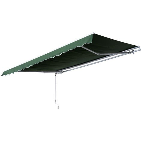 Outsunny 3.5 x 2.5m Awning Canopy Sun Shade Manual Retractable - Green