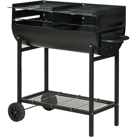 "Outsunny 35.5"" Steel Portable Outdoor Charcoal Smoking Grill w/ Wheels Black"