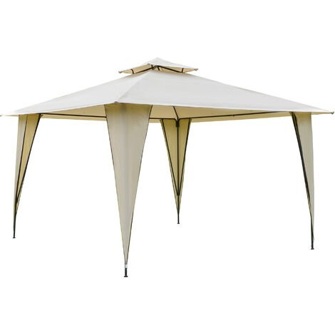 Outsunny 3.5x3.5m Side-Less Outdoor Canopy Gazebo 2-Tier Roof Steel Frame Beige