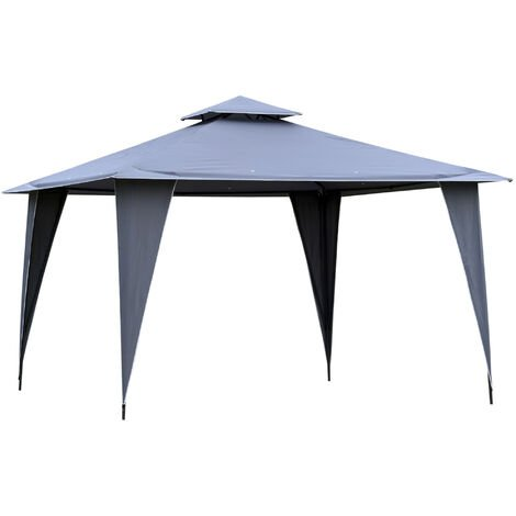 Outsunny 3.5x3.5m Side-Less Outdoor Canopy Gazebo 2-Tier Roof Steel Frame Grey