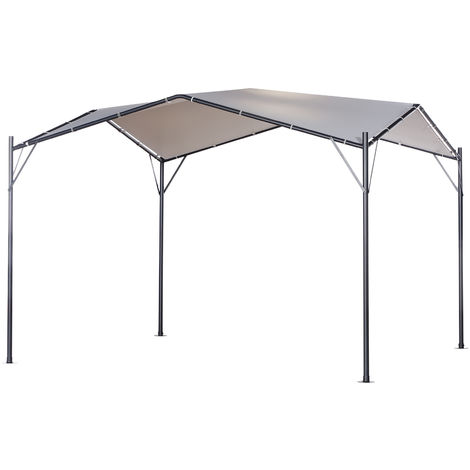 Outsunny 3.5x3.5m Steel Open Gazebo w/ Angled Roof Water UV Resistant Shade