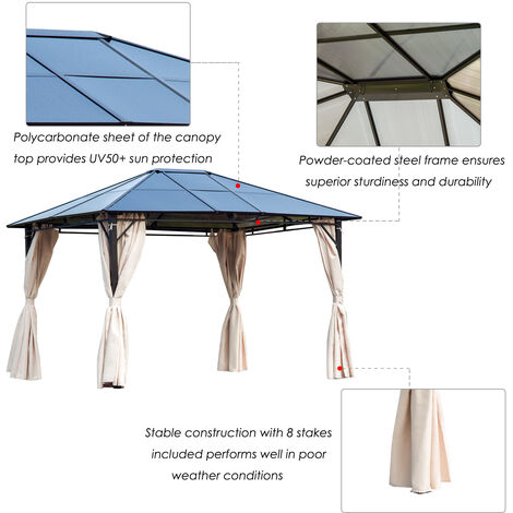 Outsunny 3.6 x 3m Gazebo Sun Shade Canopy Marquee Party Tent w/Side Wall Curtain