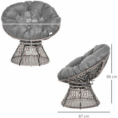 Outsunny 360° Swivel Rattan Moon Chair Round Outdoor Wicker Seat w/ Cushion