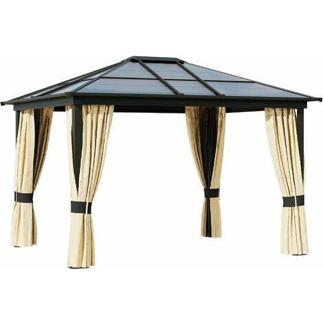 Outsunny 3.6m Solar Light Gazebo Tent w/ Aluminium Frame Remote Outdoor Shelter