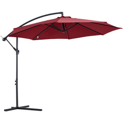 Outsunny 3M Banana Cantilever Umbrella Garden Parasol Sun Shade Wine Red