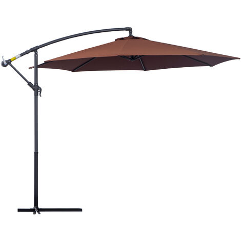 Outsunny 3m Banana Parasol Sunshade Garden Umbrella - Coffee